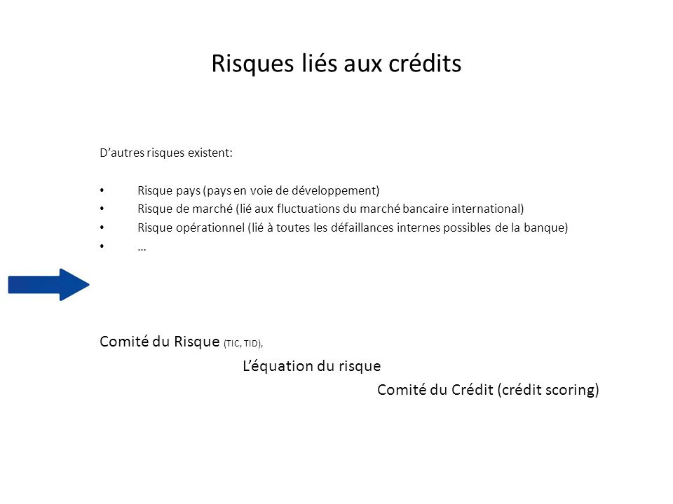 Risques liés aux crédits