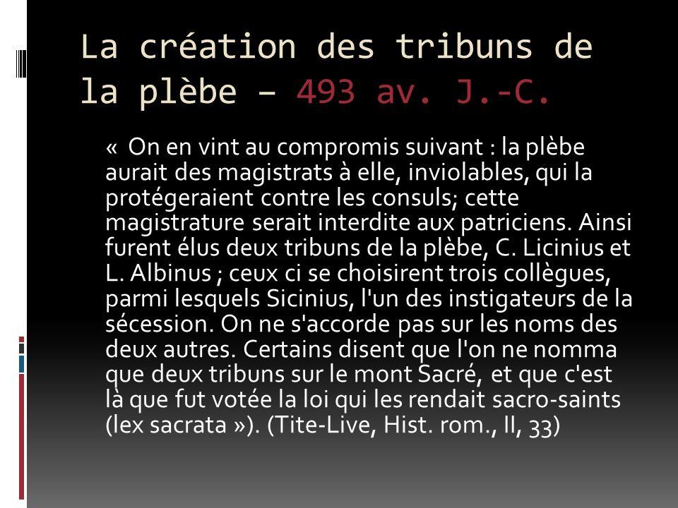 La création des tribuns de la plèbe – 493 av. J.-C.