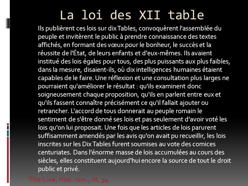 La loi des XII table