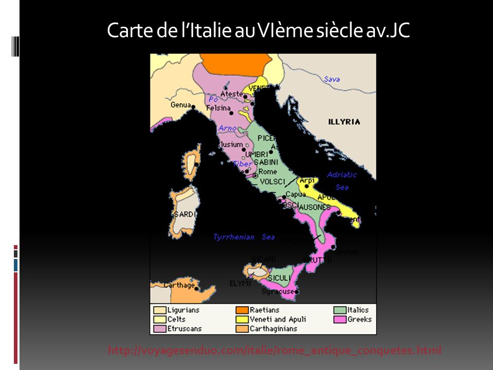 Carte de l'Italie au VIème siècle av.JC