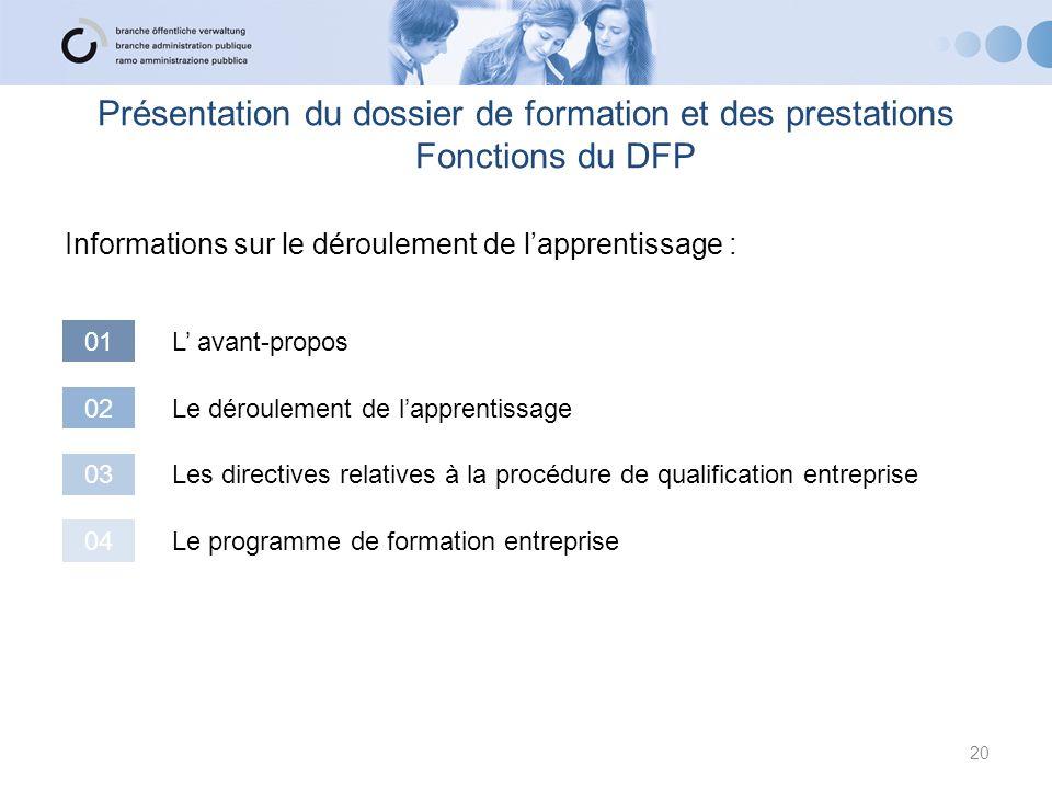 Présentation du dossier de formation et des prestations Fonctions du DFP