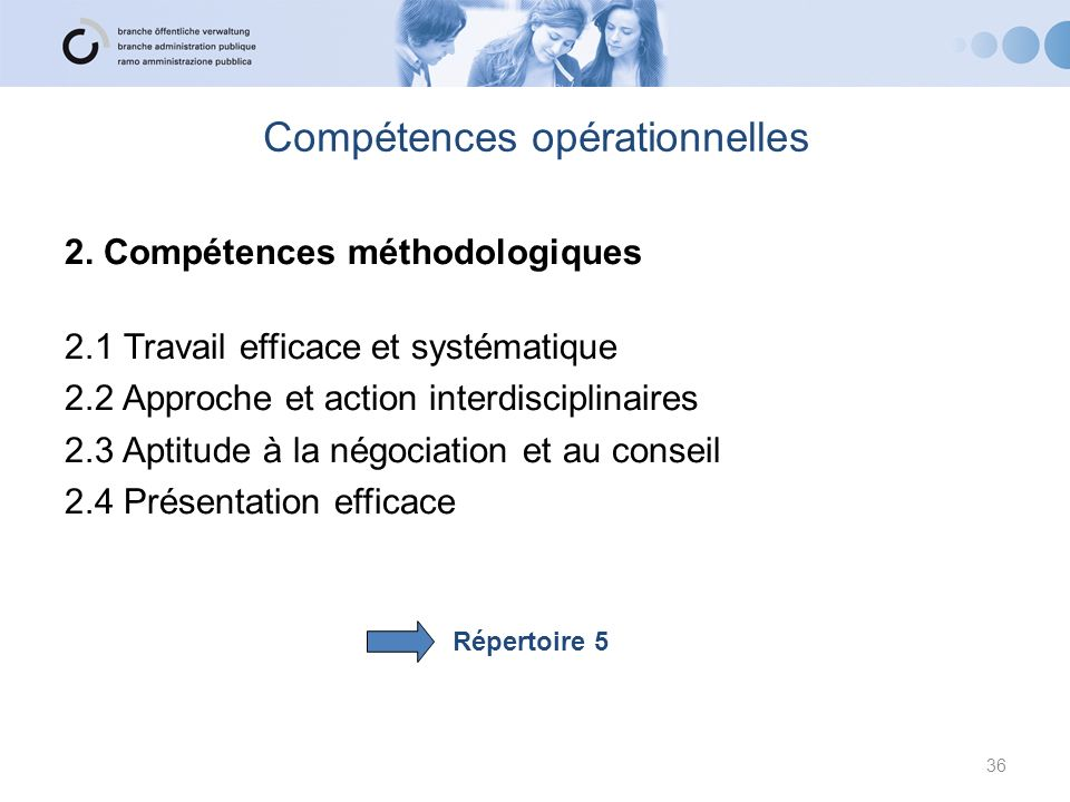 Compétences opérationnelles