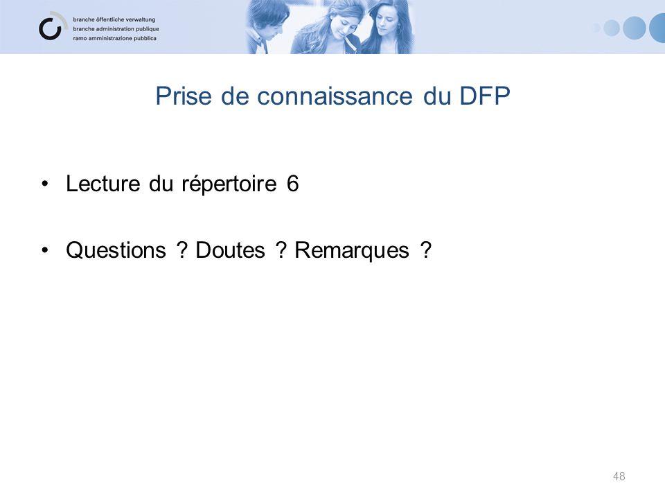 Prise de connaissance du DFP