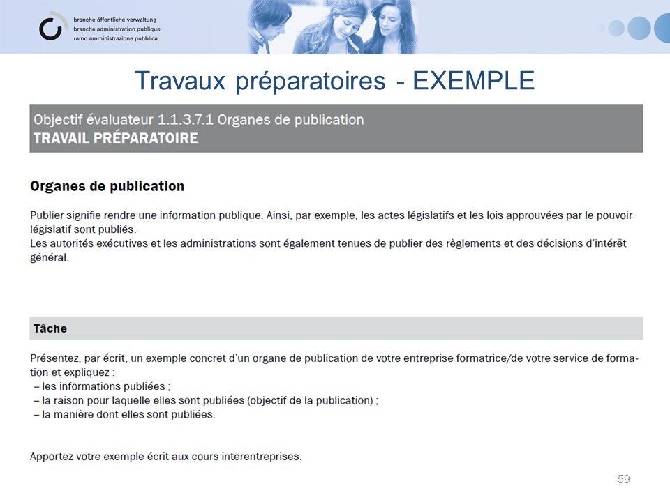 Travaux préparatoires - EXEMPLE