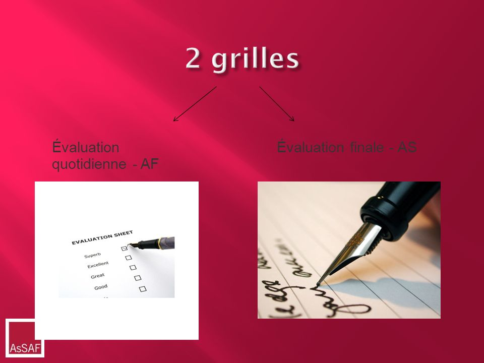 2 grilles Évaluation quotidienne - AF Évaluation finale - AS