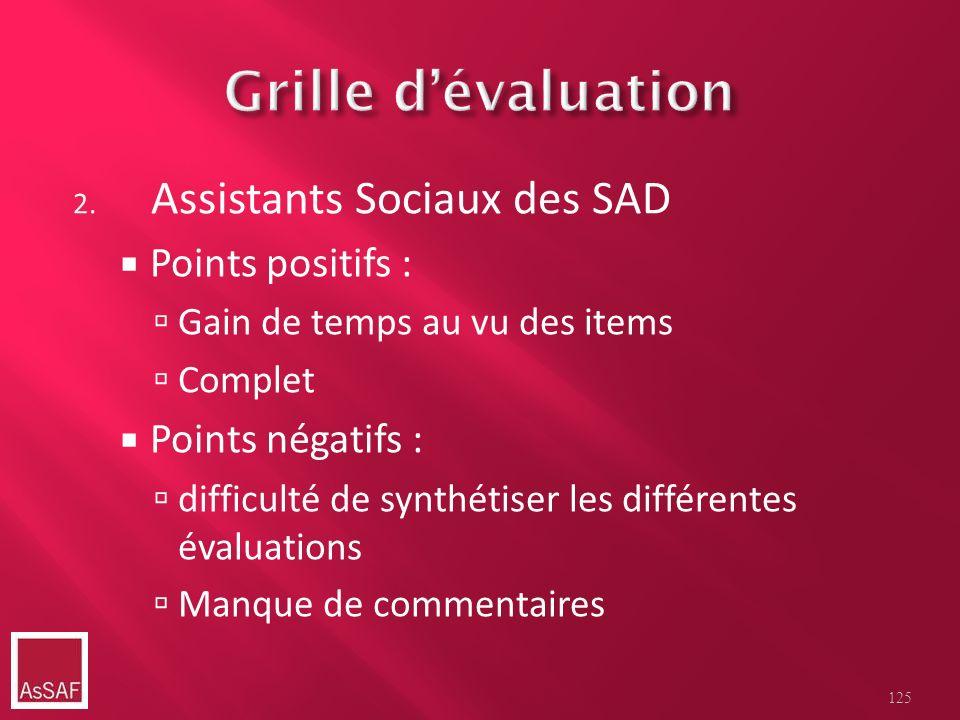 Grille d'évaluation Assistants Sociaux des SAD Points positifs :