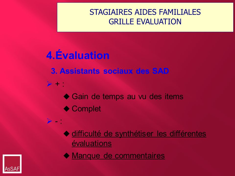 STAGIAIRES AIDES FAMILIALES GRILLE EVALUATION