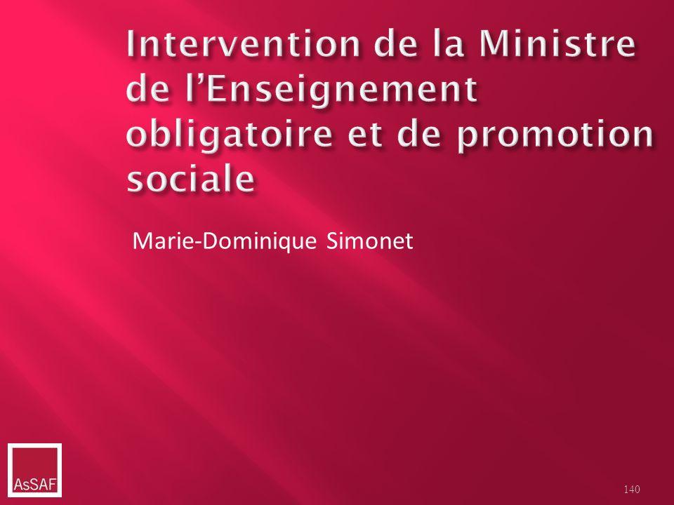Intervention de la Ministre de l'Enseignement obligatoire et de promotion sociale