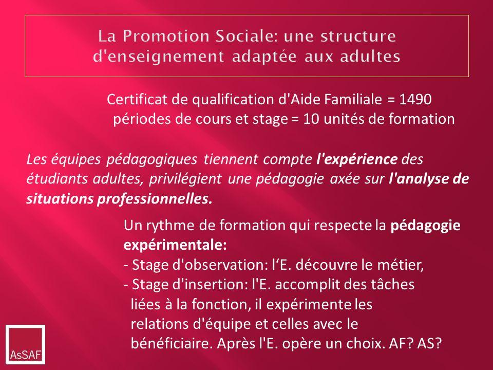 La Promotion Sociale: une structure d enseignement adaptée aux adultes