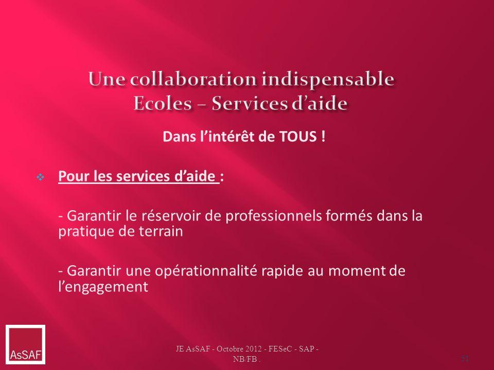 Une collaboration indispensable Ecoles – Services d'aide