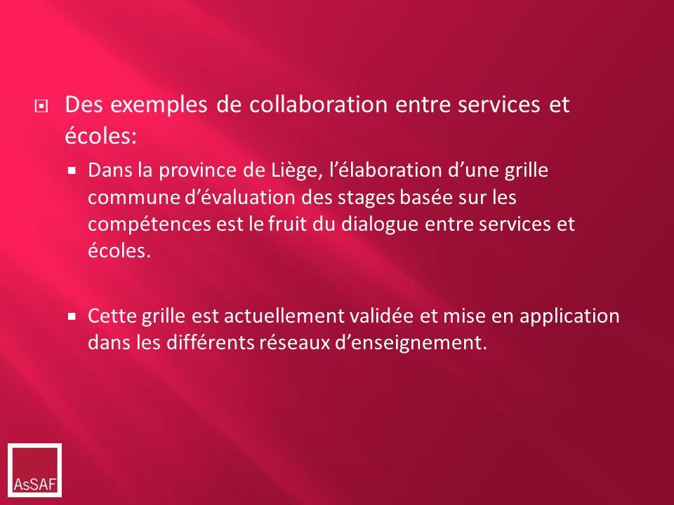 Des exemples de collaboration entre services et écoles: