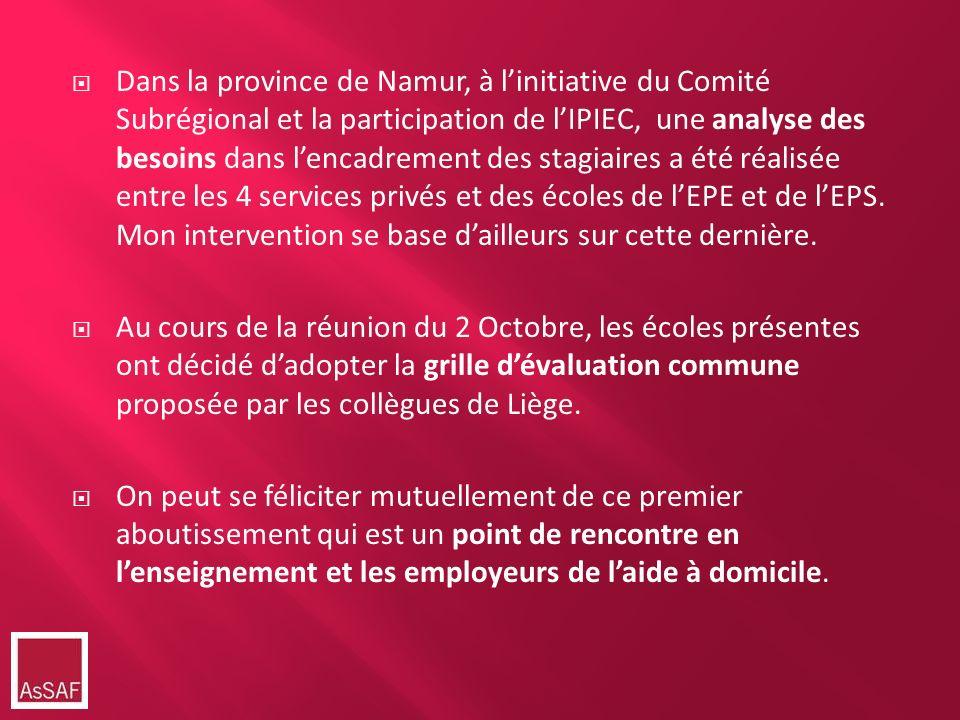 Dans la province de Namur, à l'initiative du Comité Subrégional et la participation de l'IPIEC, une analyse des besoins dans l'encadrement des stagiaires a été réalisée entre les 4 services privés et des écoles de l'EPE et de l'EPS. Mon intervention se base d'ailleurs sur cette dernière.