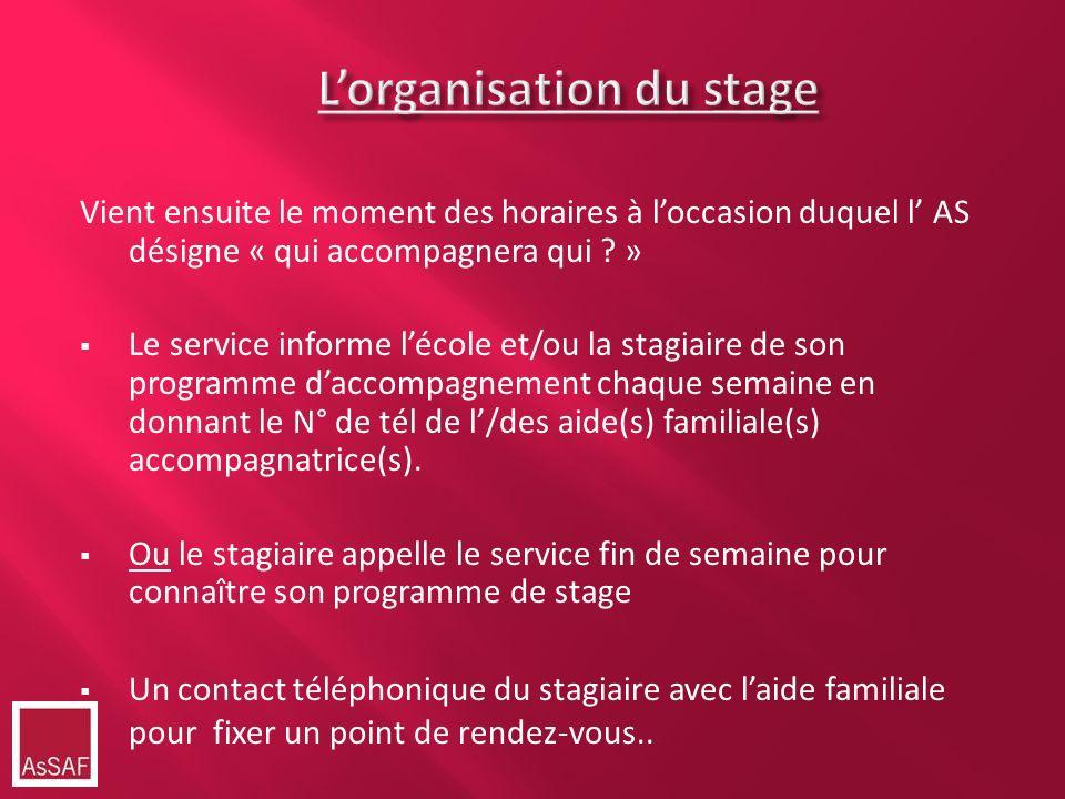 L'organisation du stage