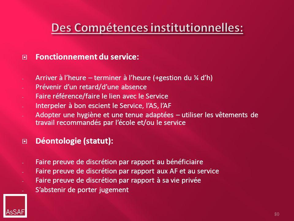 Des Compétences institutionnelles: