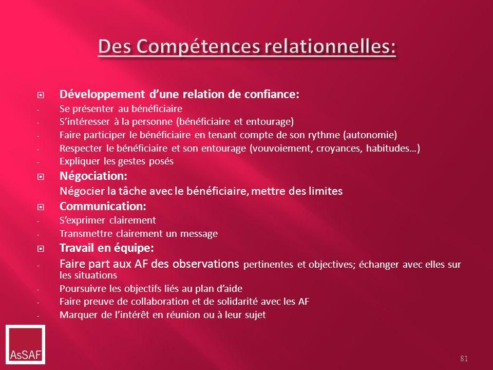 Des Compétences relationnelles: