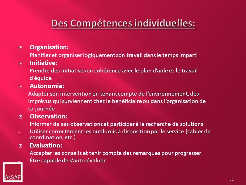 Des Compétences individuelles: