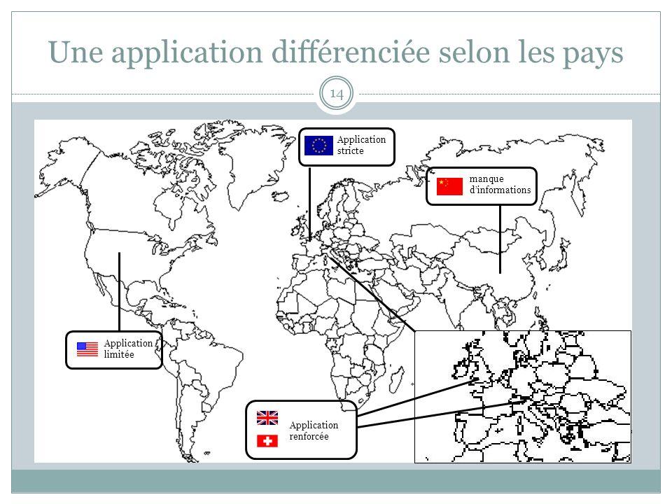 Une application différenciée selon les pays
