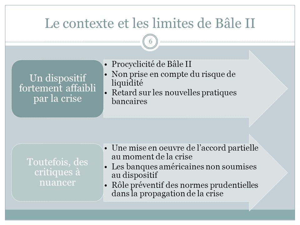 Le contexte et les limites de Bâle II