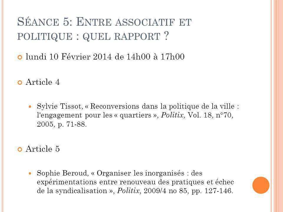 Séance 5: Entre associatif et politique : quel rapport