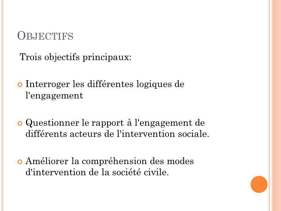 Objectifs Trois objectifs principaux: