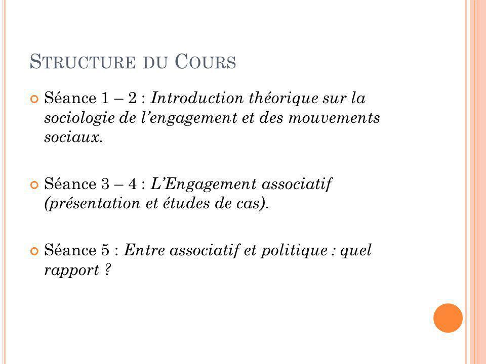 Structure du Cours Séance 1 – 2 : Introduction théorique sur la sociologie de l'engagement et des mouvements sociaux.