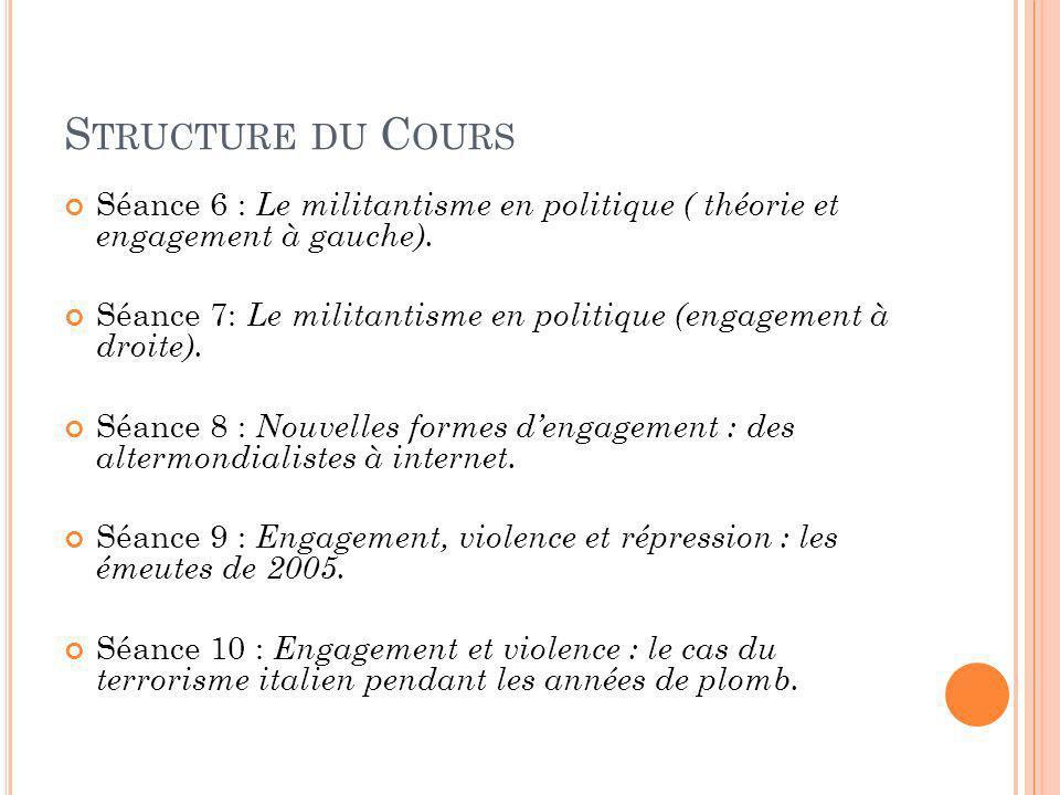 Structure du Cours Séance 6 : Le militantisme en politique ( théorie et engagement à gauche).