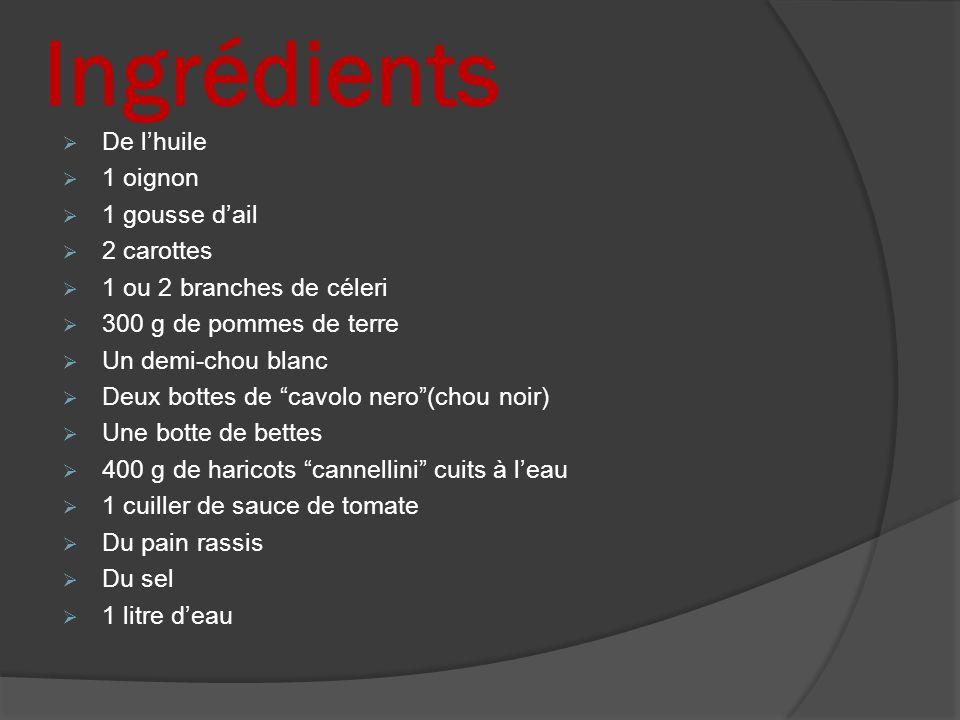 Ingrédients De l'huile 1 oignon 1 gousse d'ail 2 carottes