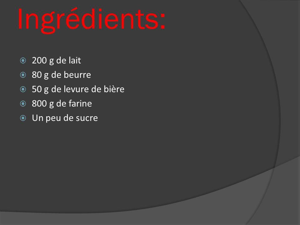 Ingrédients: 200 g de lait 80 g de beurre 50 g de levure de bière