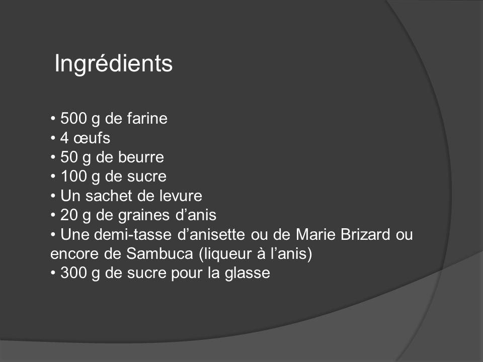 Ingrédients 500 g de farine 4 œufs 50 g de beurre 100 g de sucre