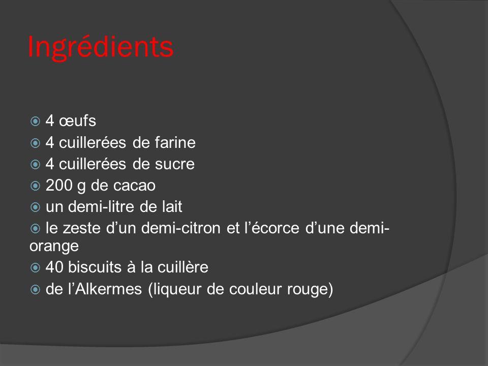 Ingrédients 4 œufs 4 cuillerées de farine 4 cuillerées de sucre