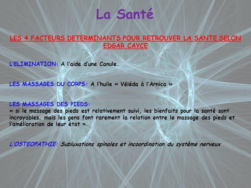 LES 4 FACTEURS DETERMINANTS POUR RETROUVER LA SANTE SELON EDGAR CAYCE