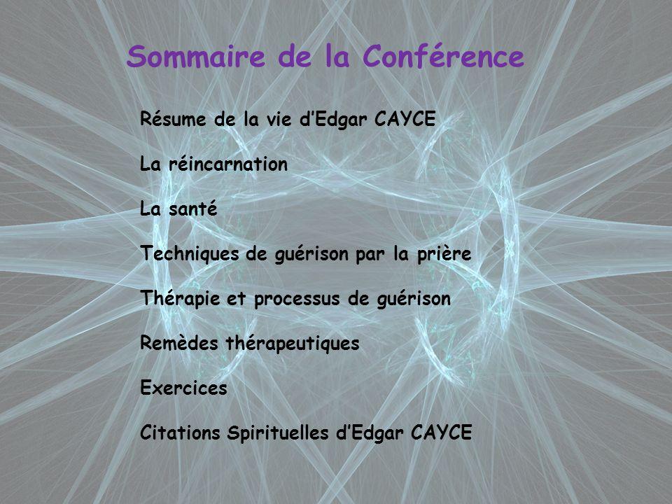 Sommaire de la Conférence