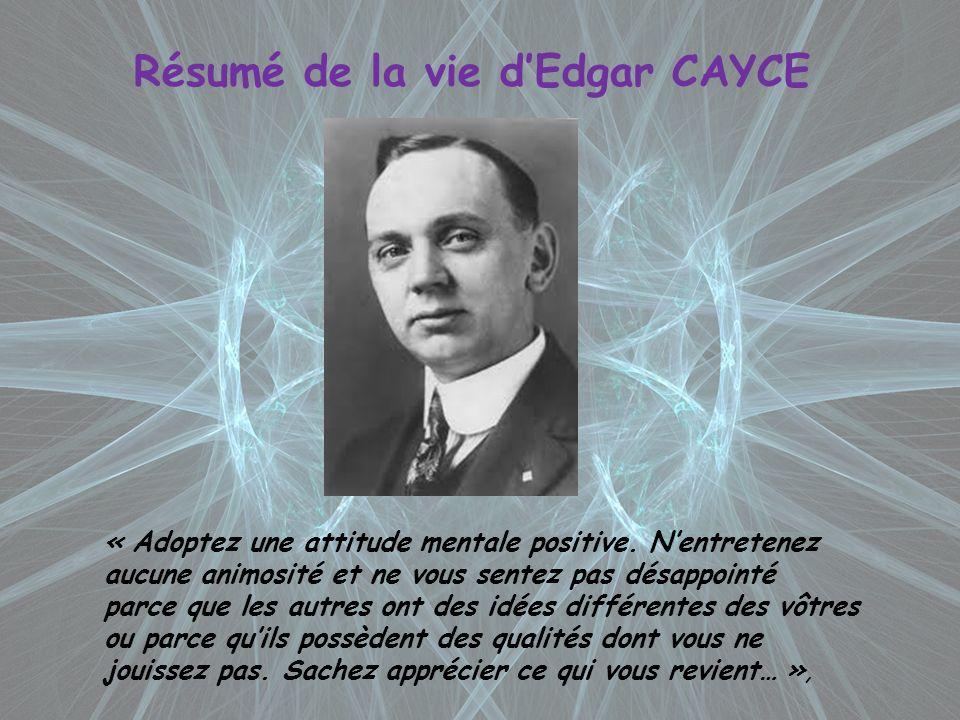 Résumé de la vie d'Edgar CAYCE