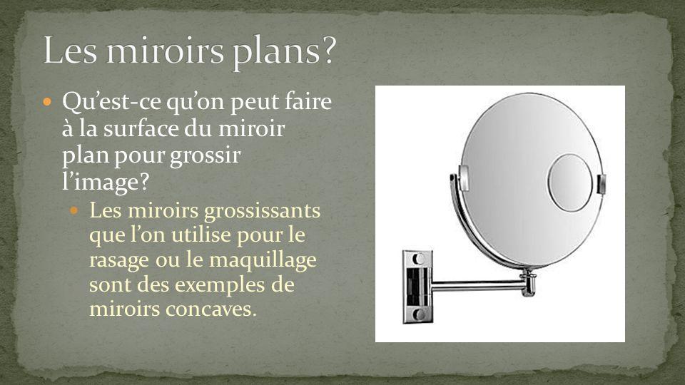 Les miroirs plans Qu'est-ce qu'on peut faire à la surface du miroir plan pour grossir l'image