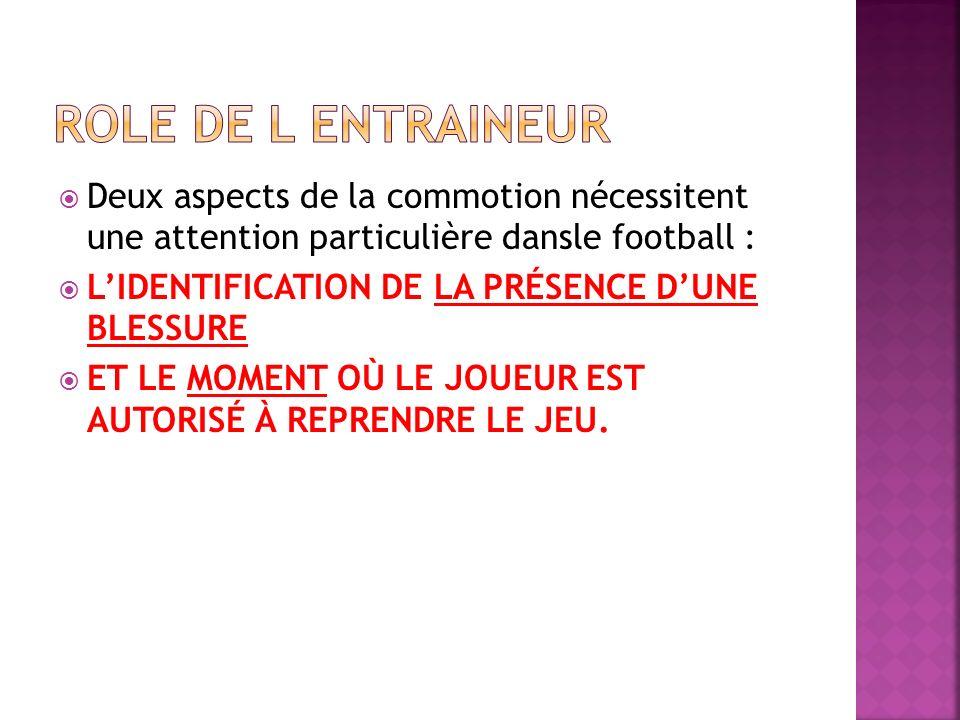 ROLE DE L ENTRAINEUR Deux aspects de la commotion nécessitent une attention particulière dansle football :
