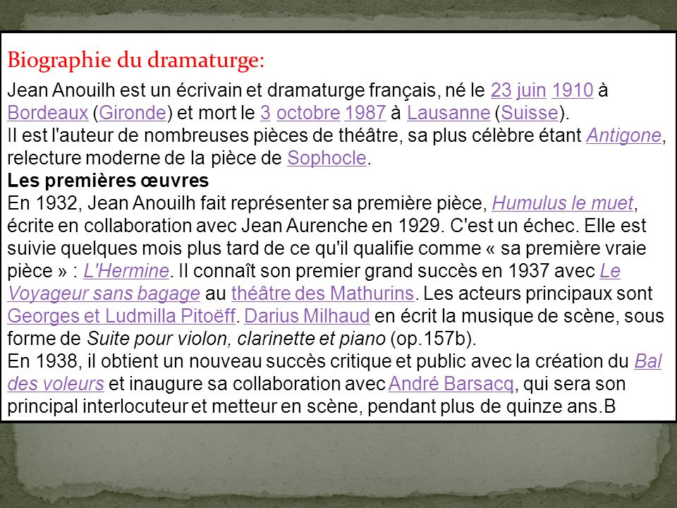 Biographie du dramaturge: