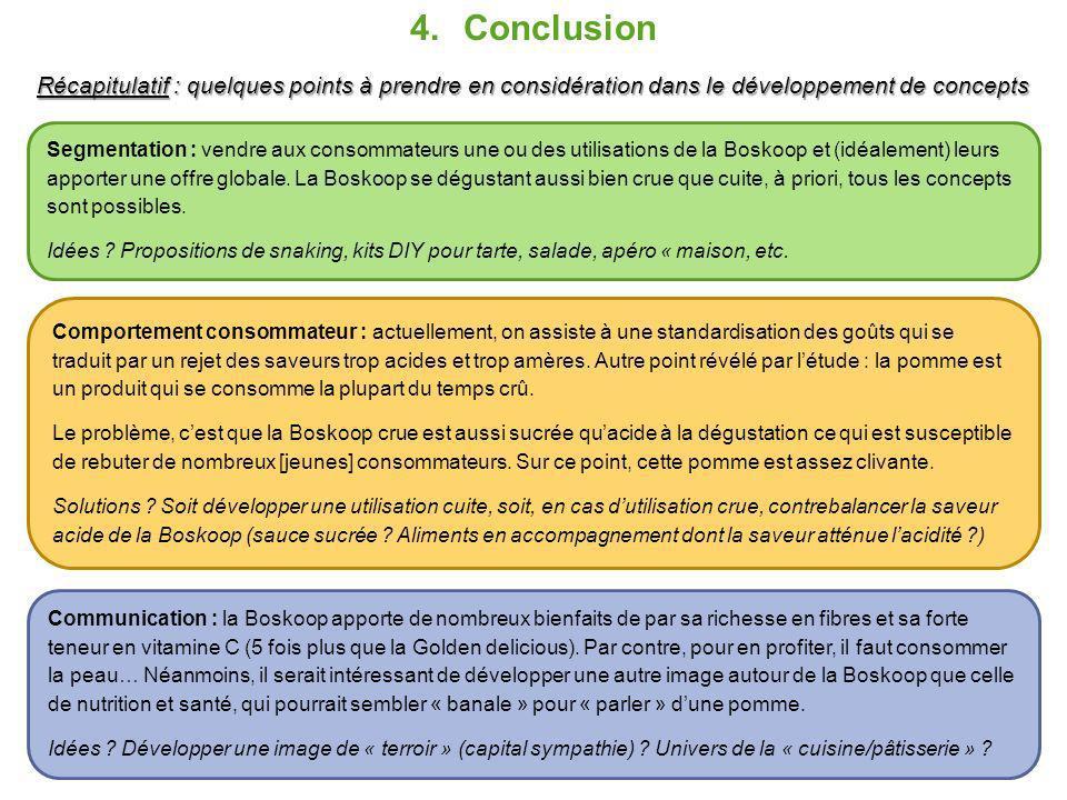Conclusion Récapitulatif : quelques points à prendre en considération dans le développement de concepts.