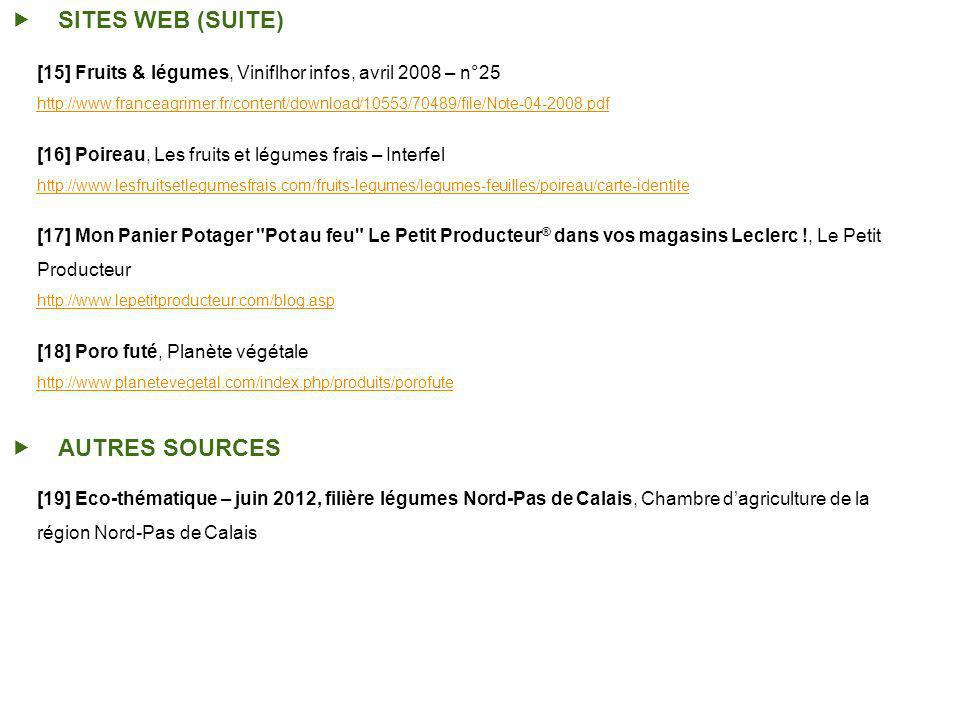 SITES WEB (SUITE) AUTRES SOURCES