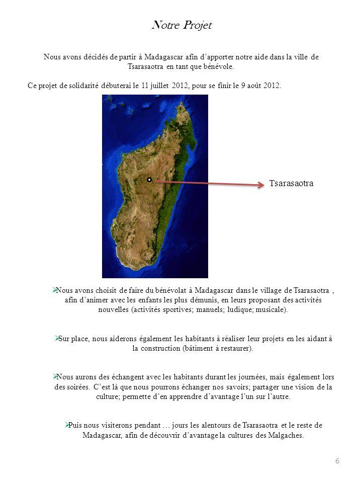 Notre Projet Nous avons décidés de partir à Madagascar afin d'apporter notre aide dans la ville de Tsarasaotra en tant que bénévole.