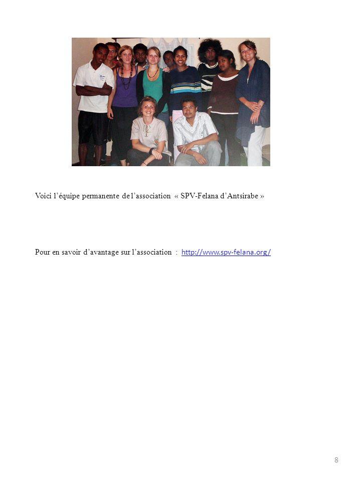 Voici l'équipe permanente de l'association « SPV-Felana d'Antsirabe »