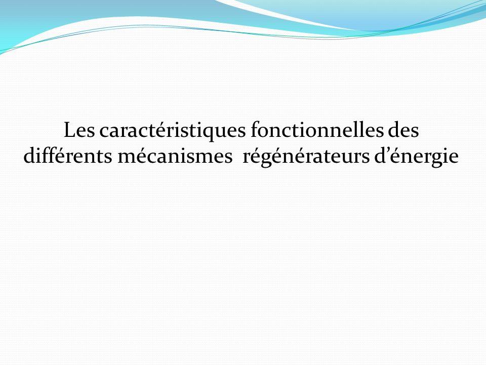 Les caractéristiques fonctionnelles des différents mécanismes régénérateurs d'énergie