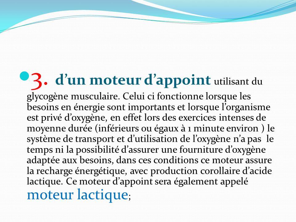 3. d'un moteur d'appoint utilisant du glycogène musculaire