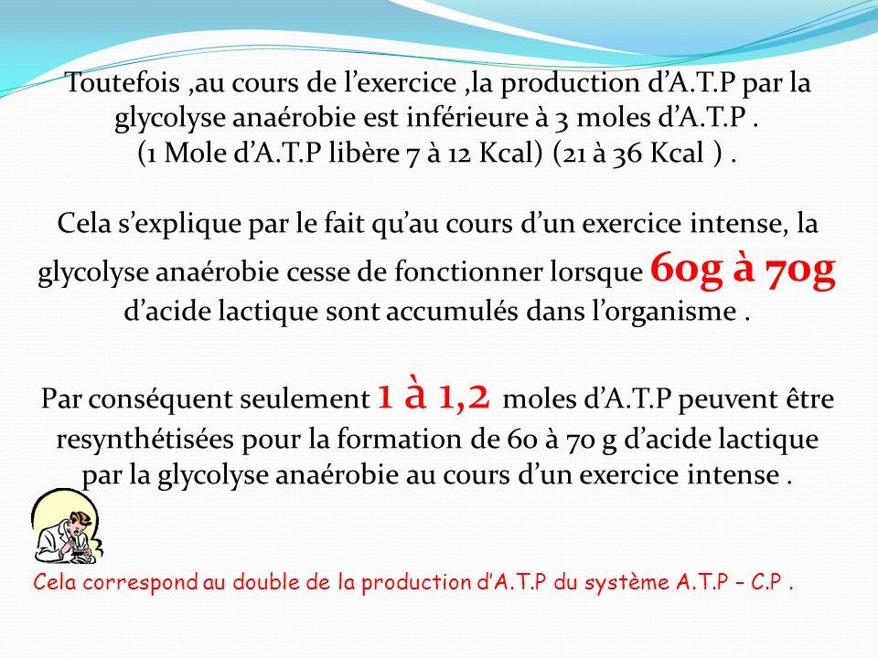 (1 Mole d'A.T.P libère 7 à 12 Kcal) (21 à 36 Kcal ) .