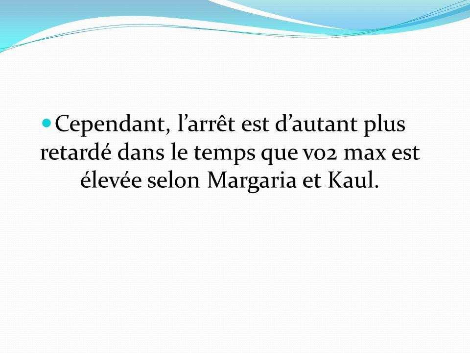 Cependant, l'arrêt est d'autant plus retardé dans le temps que vo2 max est élevée selon Margaria et Kaul.