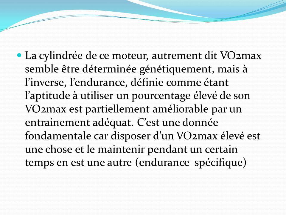 La cylindrée de ce moteur, autrement dit VO2max semble être déterminée génétiquement, mais à l'inverse, l'endurance, définie comme étant l'aptitude à utiliser un pourcentage élevé de son VO2max est partiellement améliorable par un entrainement adéquat.