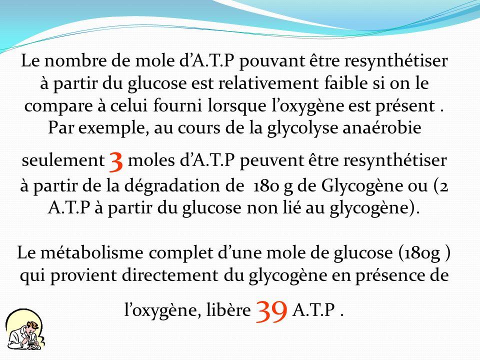 Le nombre de mole d'A.T.P pouvant être resynthétiser à partir du glucose est relativement faible si on le compare à celui fourni lorsque l'oxygène est présent .