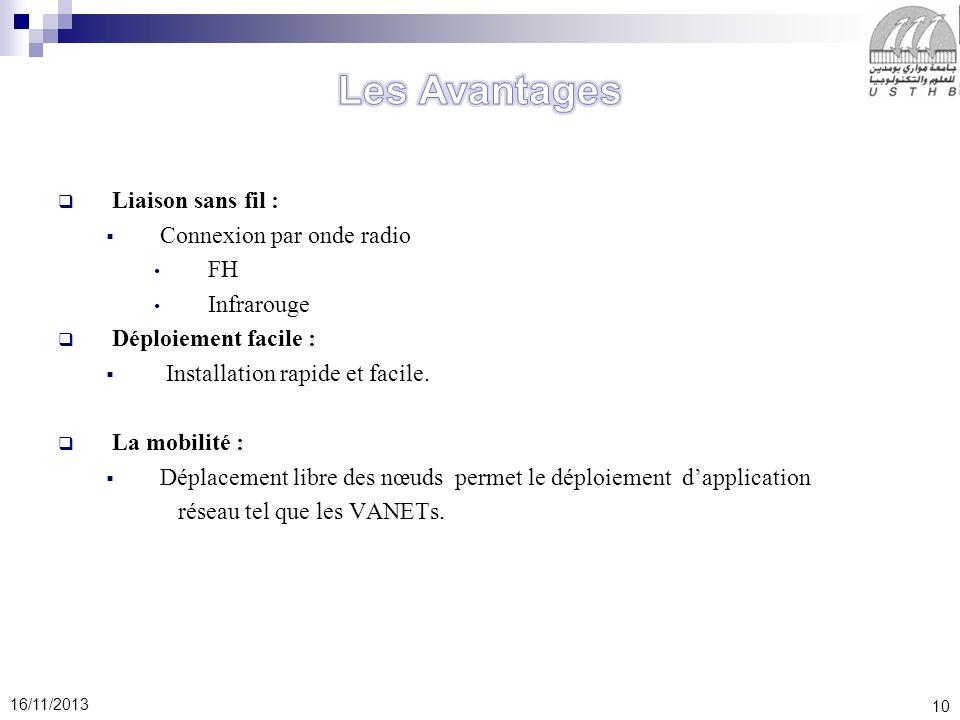 Les Avantages Liaison sans fil : Connexion par onde radio FH