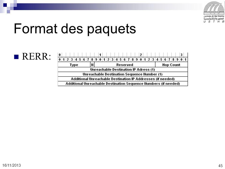Format des paquets RERR:
