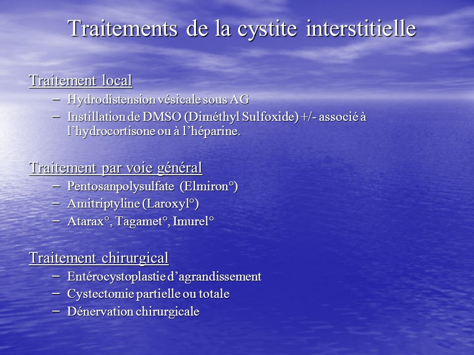 Traitements de la cystite interstitielle
