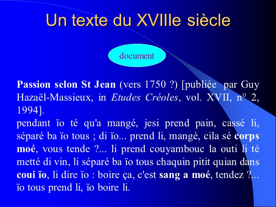 Un texte du XVIIIe siècle